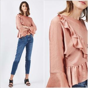 TOPSHOP dusty rose pink ruffle blouse